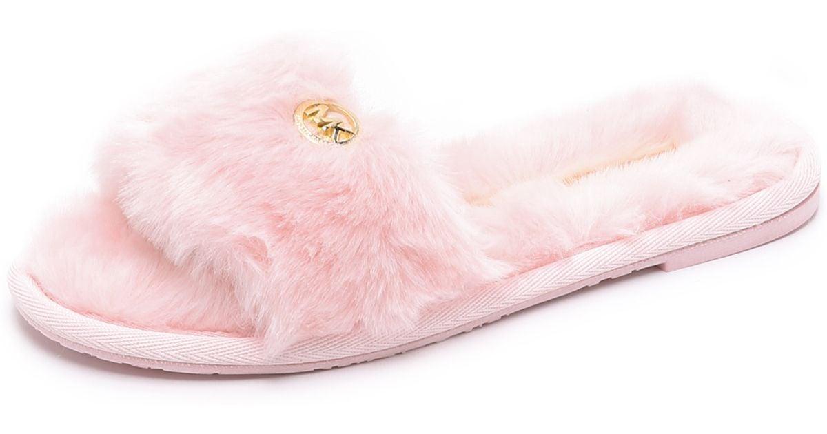 796378a7f641 Lyst - MICHAEL Michael Kors Jet Set Faux Fur Slide Slippers - Pink in Pink