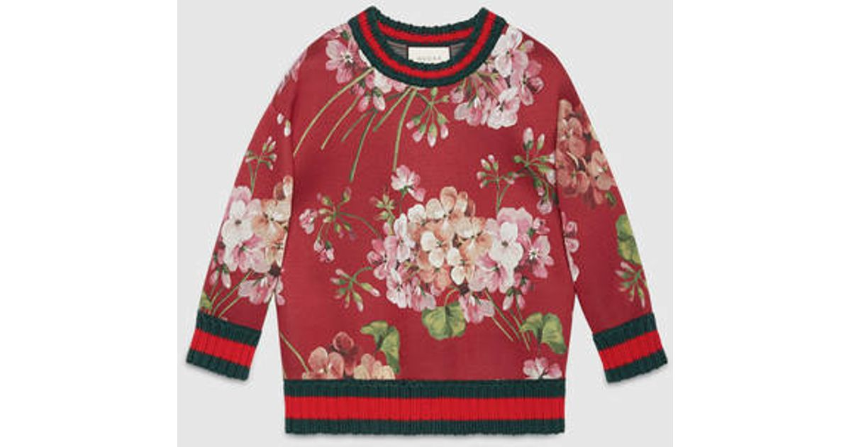 dcb697b7d32 Lyst Gucci Blooms Print Jersey Sweatshirt In Red