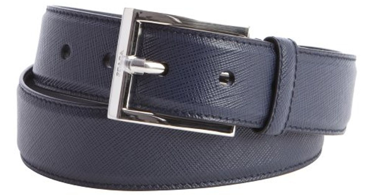 98993b49122ba ... cheapest lyst prada navy saffiano leather square buckle belt in blue  for men 13aa4 1973f