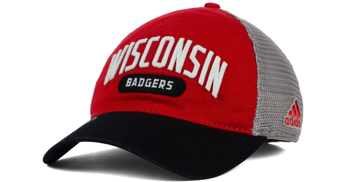 super popular bf9ea 948d4 adidas Wisconsin Badgers Adjustable Mesh Slouch Cap in Red for Men - Lyst