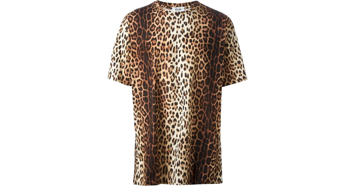 3630fb74fe Moschino Leopard Print T-Shirt in Brown for Men - Lyst