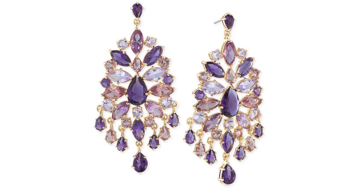 Lyst carolee gold tone purple large chandelier earrings in purple aloadofball Gallery