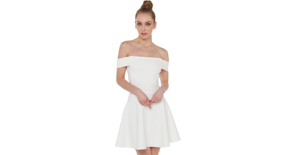 d71d50d42939 Akira Black Label Heartbreaker Off Shoulder White Skater Dress in White -  Lyst