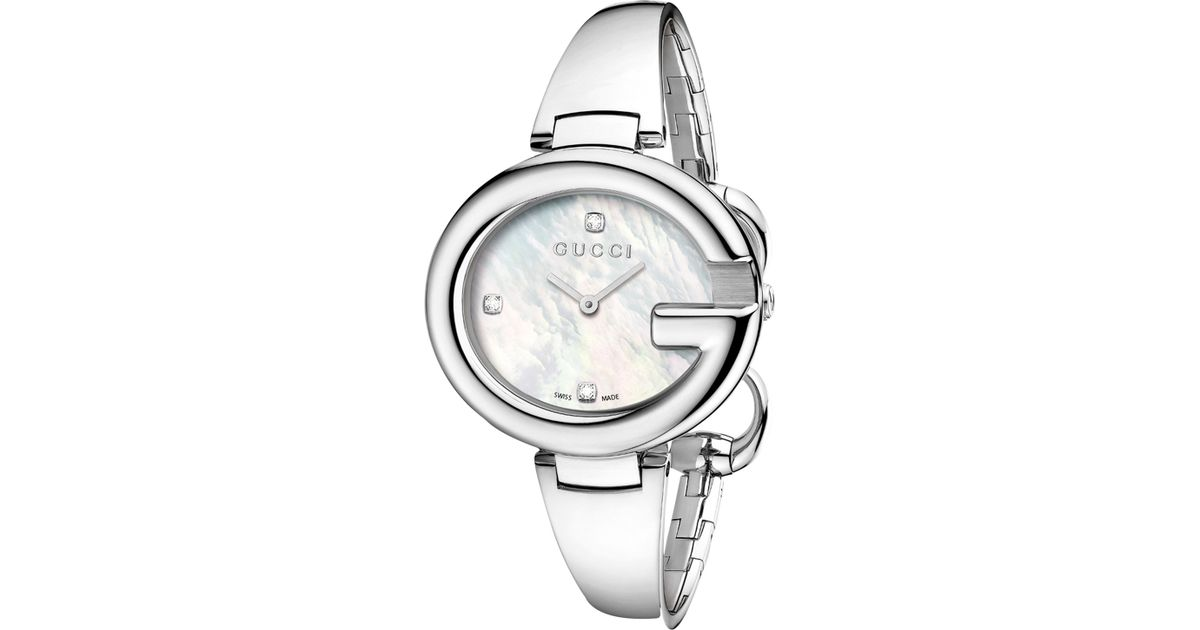 c3de7bb625c Gucci Ssima Women S Diamond Set Mother Of Pearl Bracelet Watch in White -  Lyst