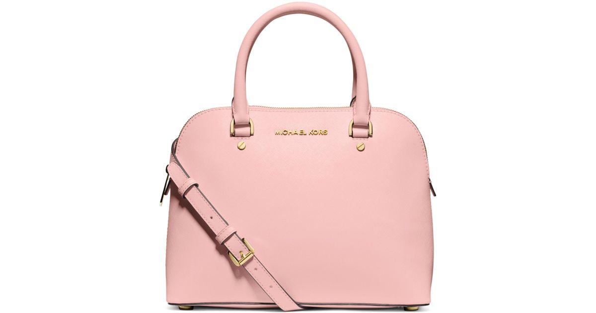 7e52e727c316 ... official lyst michael kors cindy medium saffiano leather satchel in pink  4ea40 dc137 sale michael kors cindy large dome satchel in ...