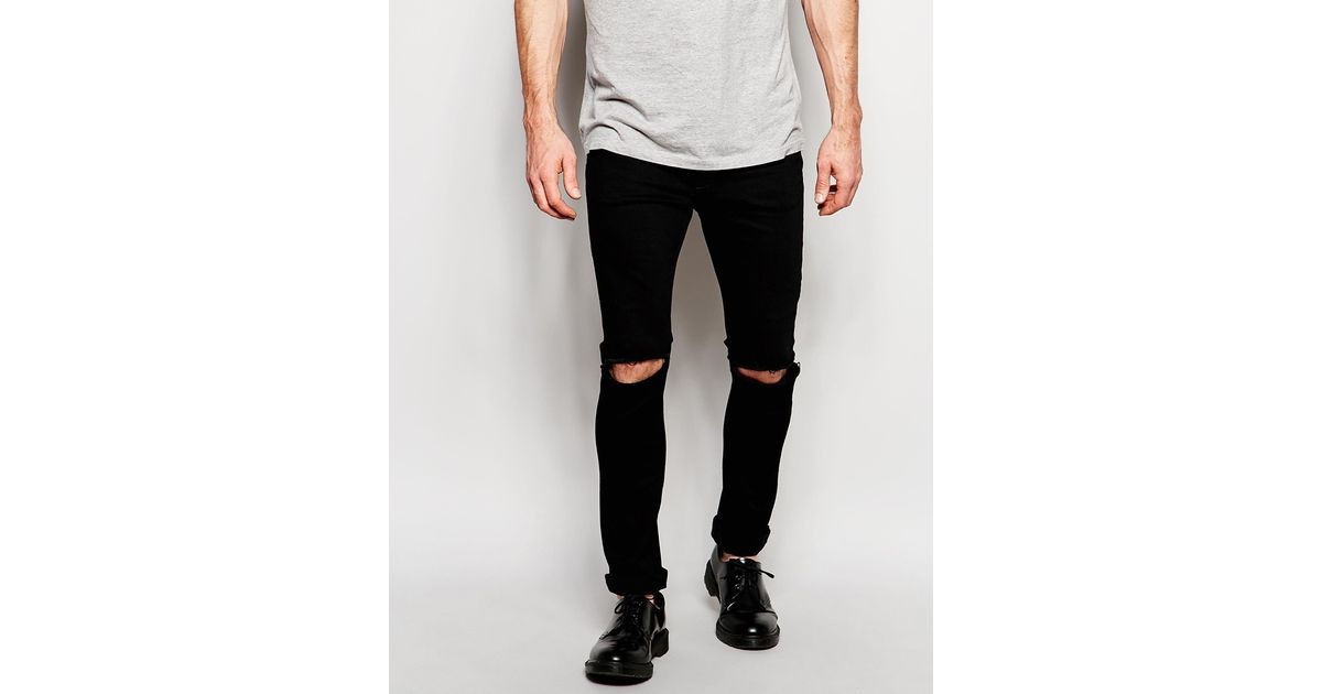 fd113bbd647 Hype Skinny Jeans With Ripped Knees in Black for Men - Lyst