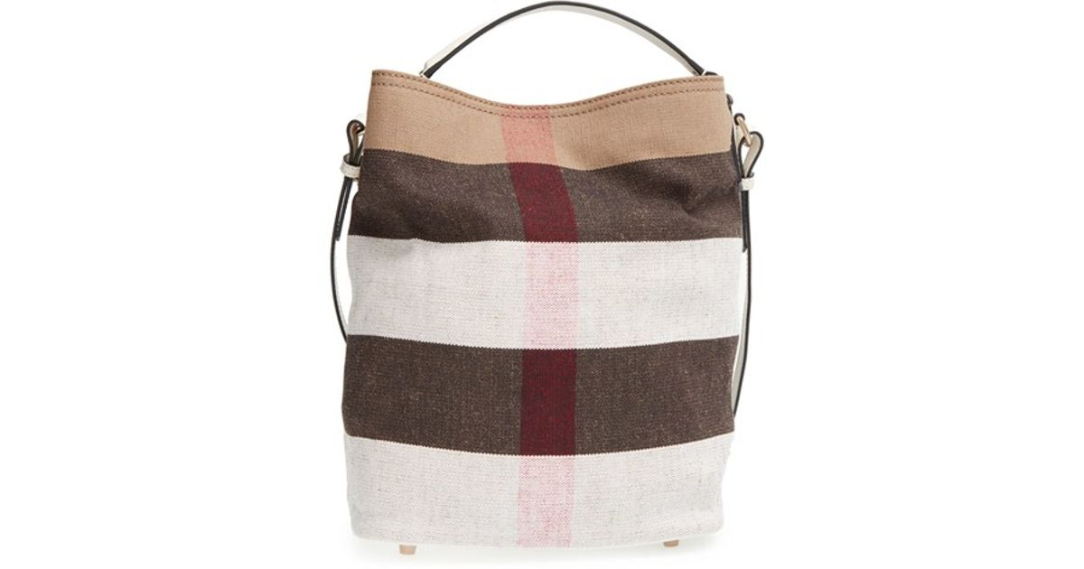 Lyst - Burberry  medium Susanna - Mega Check  Jute   Cotton Bucket Bag in  Brown a146de82fcf15