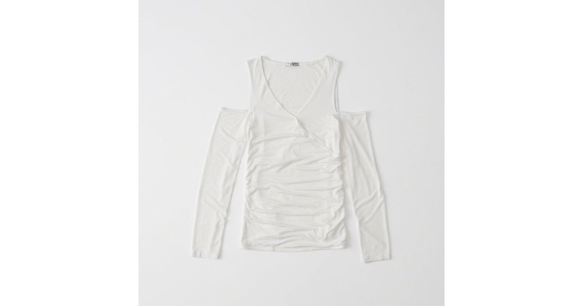 16ed006c233f7 Lyst - Abercrombie   Fitch Cold Shoulder Wrap Top in White