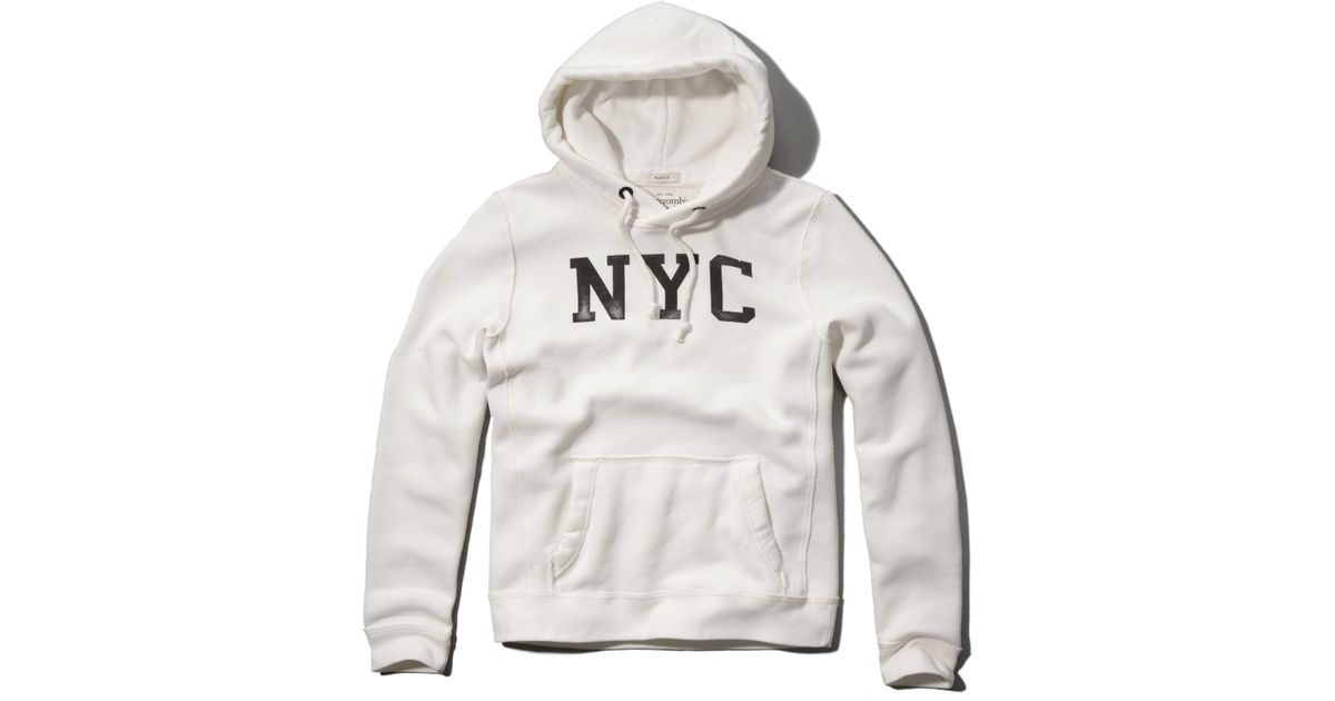 Abercrombie And Fitch Clothing Abercrombie And Fitch Hoodies Abercrombie And Fitch Jackets Abercrombie And Fitch Sweater: Abercrombie & Fitch Nyc Graphic Hoodie In White For Men