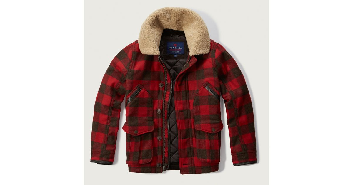 Abercrombie Amp Fitch Sherpa Collar Wool Jacket In Red For