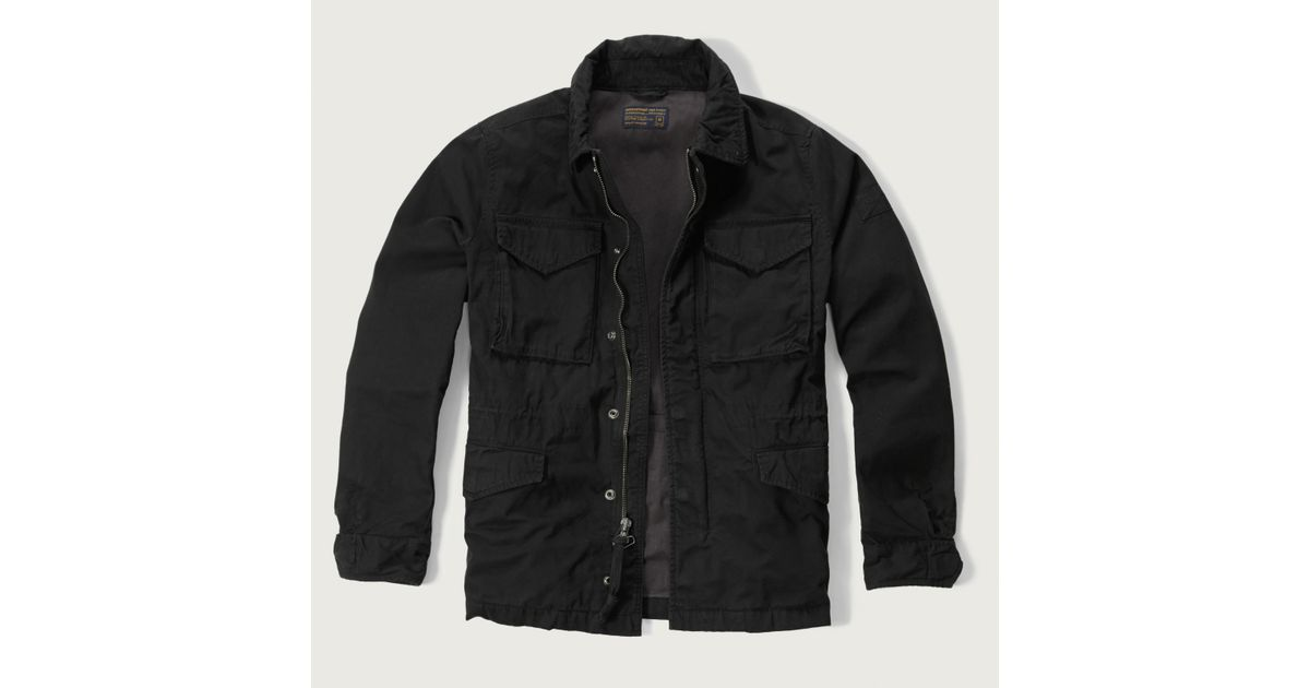 Abercrombie Accessories Abercrombie Accessories Abercrombie Womens Abercrombie Couple Abercrombie Womens: Abercrombie & Fitch Twill Military Jacket In Black For Men