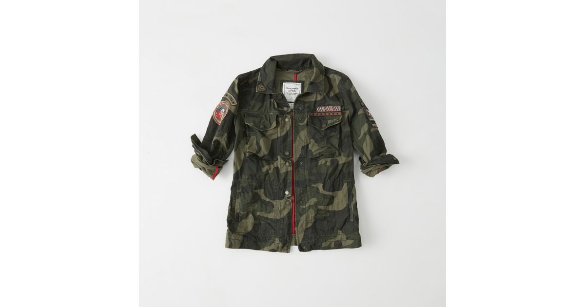 Abercrombie And Fitch Clothing Abercrombie And Fitch Hoodies Abercrombie And Fitch Jackets Abercrombie And Fitch Sweater: Abercrombie & Fitch Patch Twill Shirt Jacket In Green