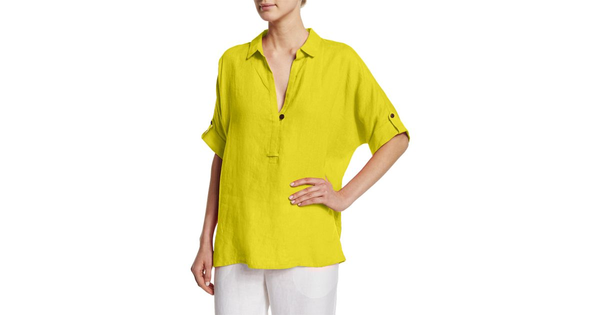 2a90e83a5804eb Lyst - Go  By Go Silk Oversized Short-sleeve Linen Tunic in Green