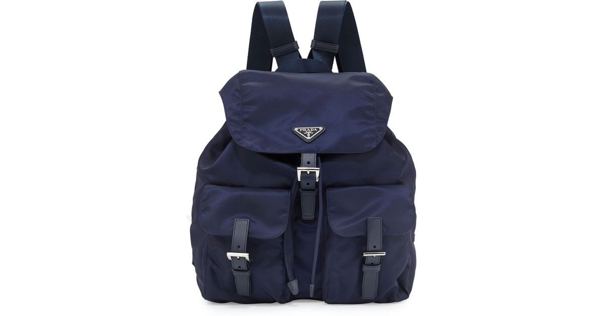 Prada Vela Medium Backpack in Blue (NAVY) | Lyst