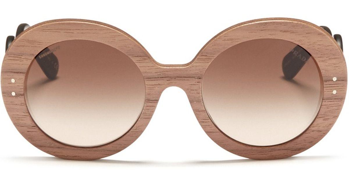Prada Brown Swirl Temple Round Wooden Sunglasses