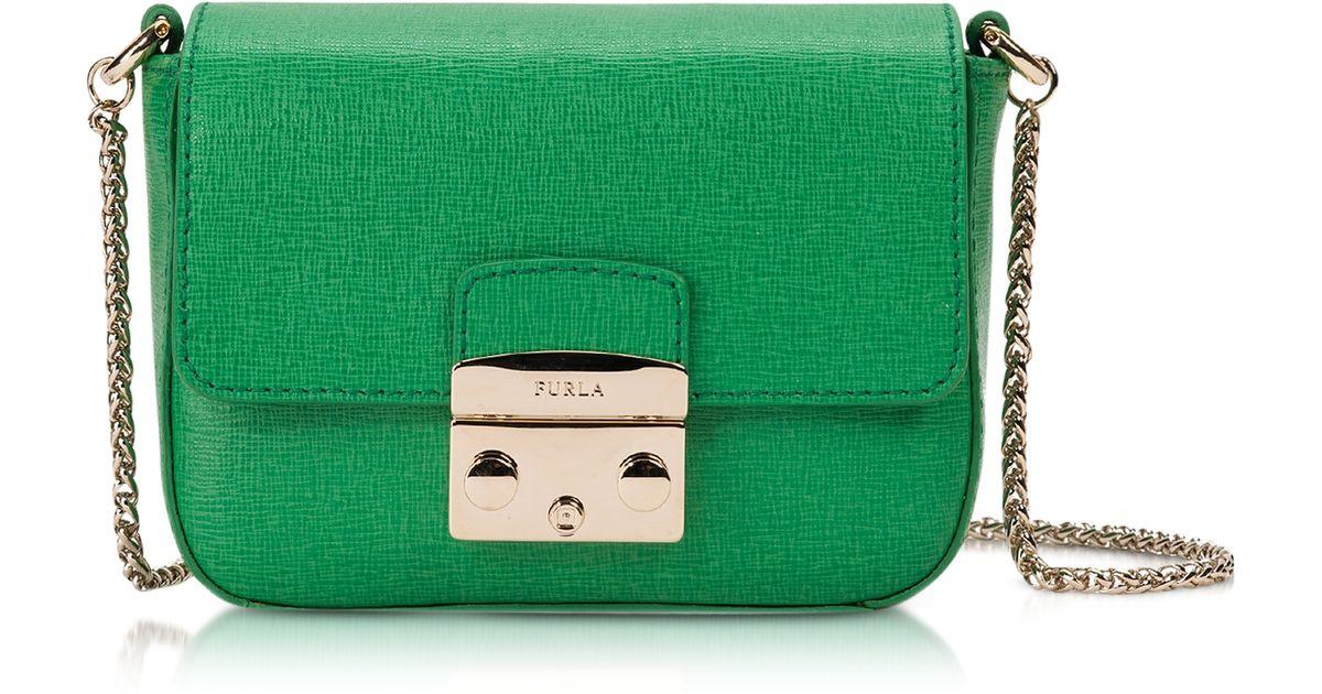 3ca75c73e7 Lyst - Furla Metropolis Saffiano Leather Mini Crossbody Bag W Chain in Green