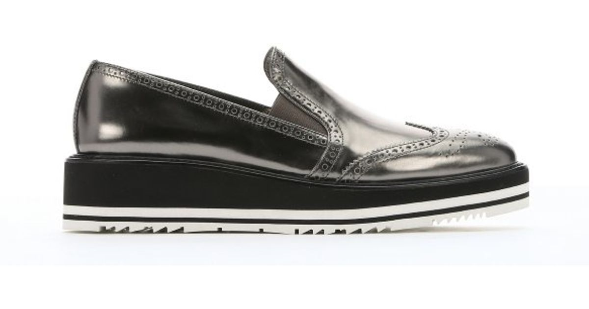 Prada Anthracite Metallic Leather Slip-on Wingtip Creepers in Gray ...