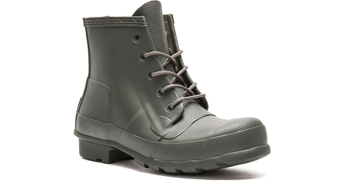 Hunter Original Lace Up Rainboots In Green Lyst