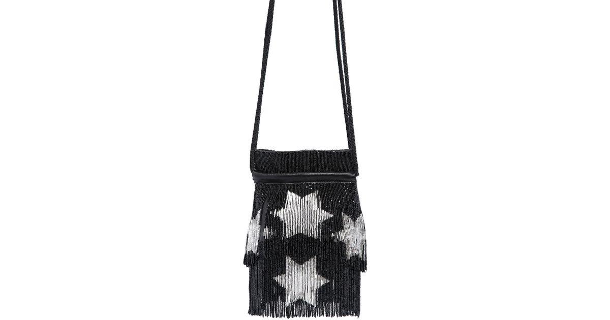 3e045225f8 Lyst - Saint Laurent Stars Beaded Fringe Nappa Bucket Bag in Black