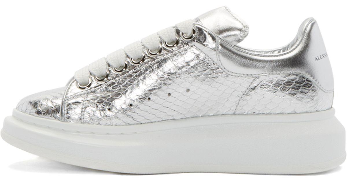 edba42d30c17 Lyst - Alexander McQueen Silver Snakeskin Sneakers in Metallic