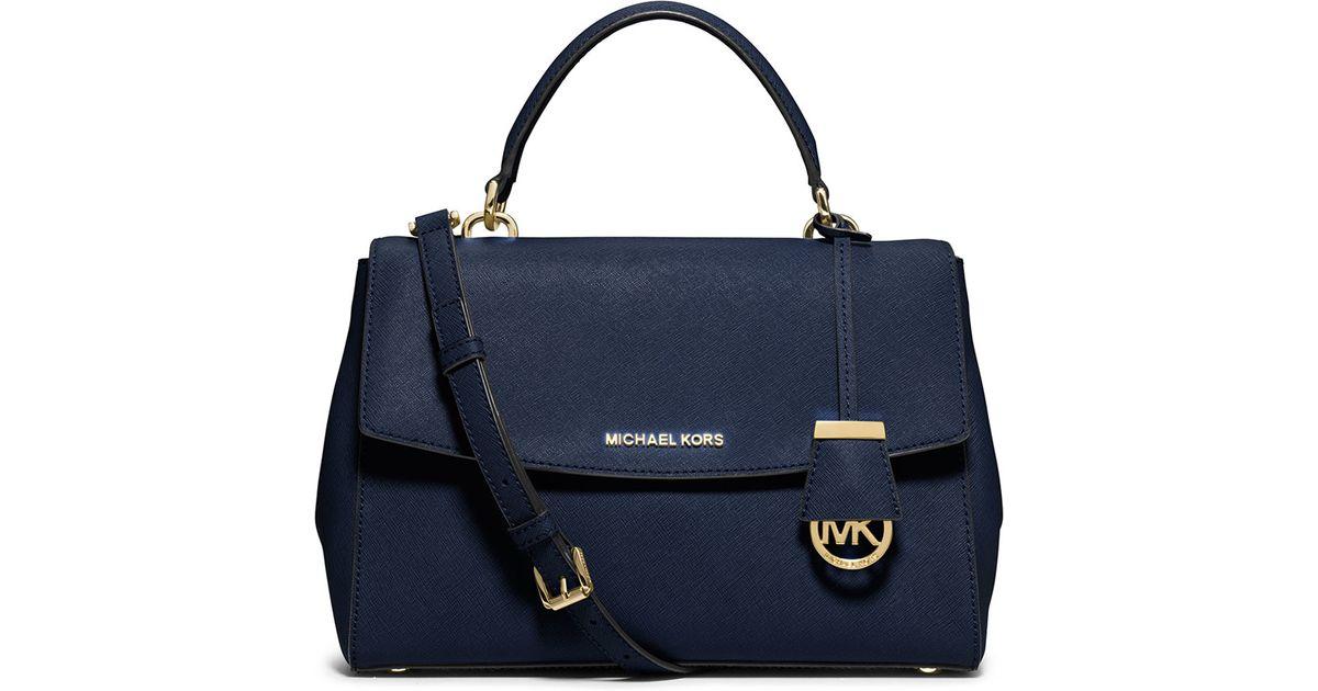 0f823271c97a ... denmark lyst michael michael kors ava medium saffiano satchel bag in  blue 97477 b04c9