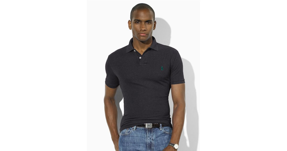 Polo Men Ralph Lauren Blue White Stickup Custom-Fit Mesh