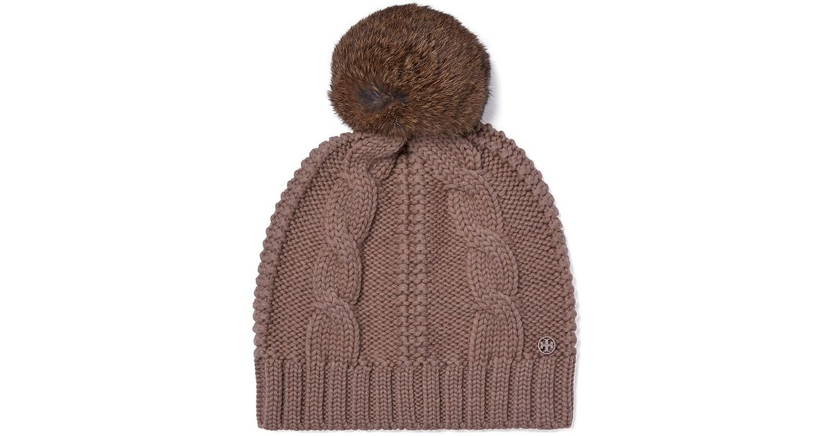 Tory Burch Large Cable Knit Pom Pom Hat In Brown Light