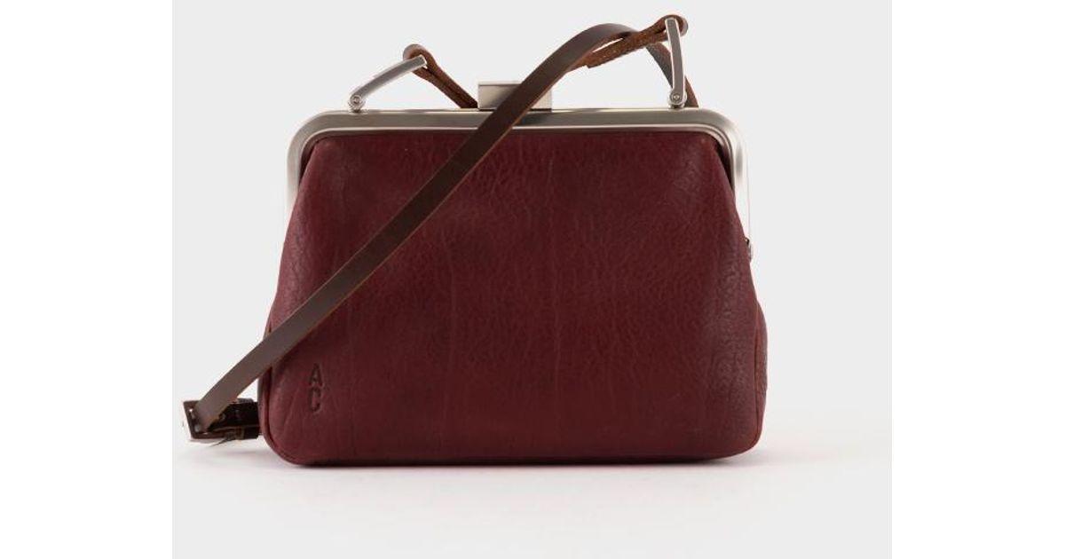b90632be0e Ally Capellino Fox Calvert Leather Frame Bag Small - Plum - Lyst