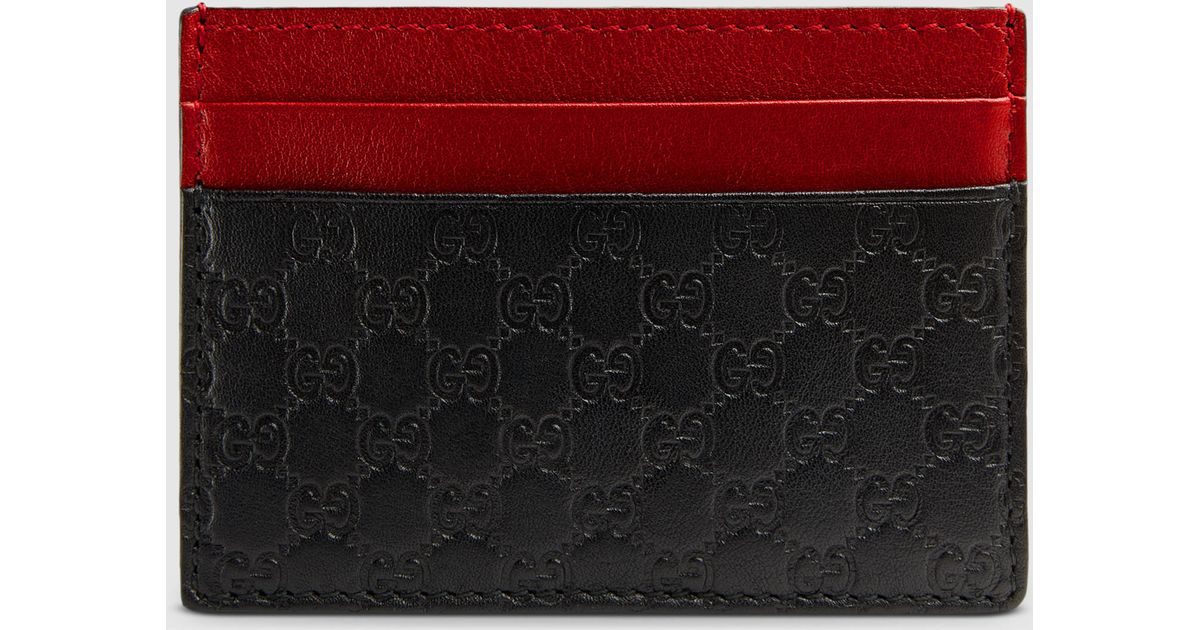 buy online f1986 75db0 Gucci Red Microguccissima Card Case for men