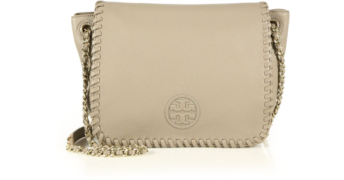 ab0916382090 Lyst - Tory Burch Marion Small Leather Flap Shoulder Bag in Gray