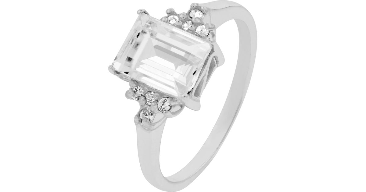 Accessorize Sterling Silver Emerald Cut Ring With Swarovski® Crystals in  Metallic - Lyst d2c4b1ee2e