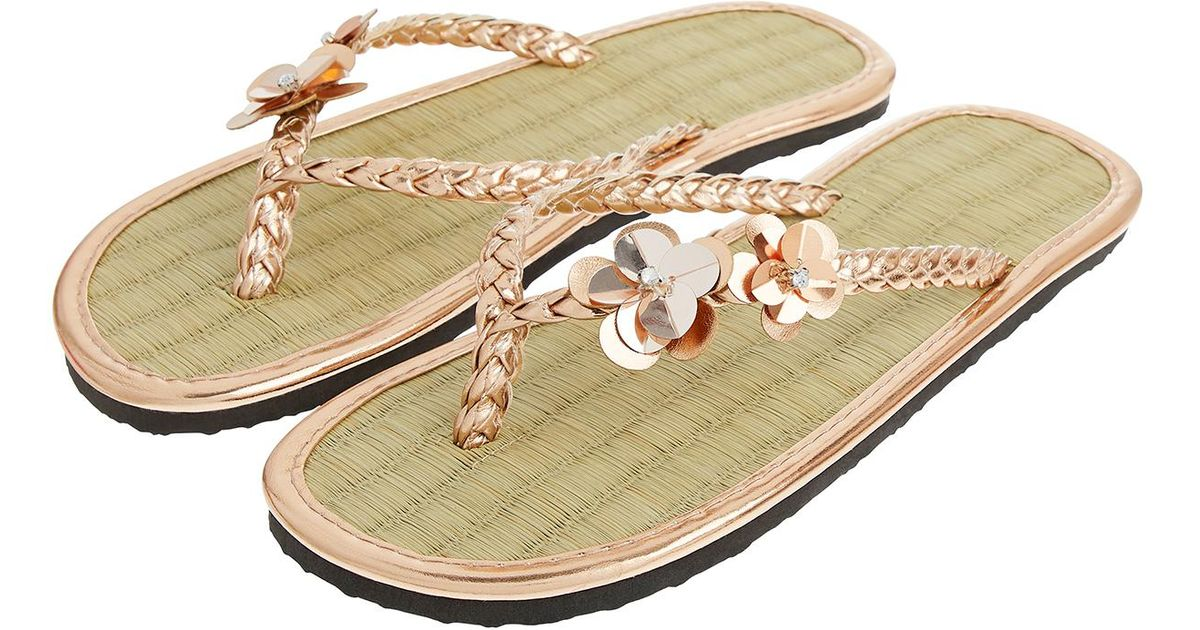 6d69d157e Accessorize Rose Gold Charmy Seagrass Flip Flops in Metallic - Lyst