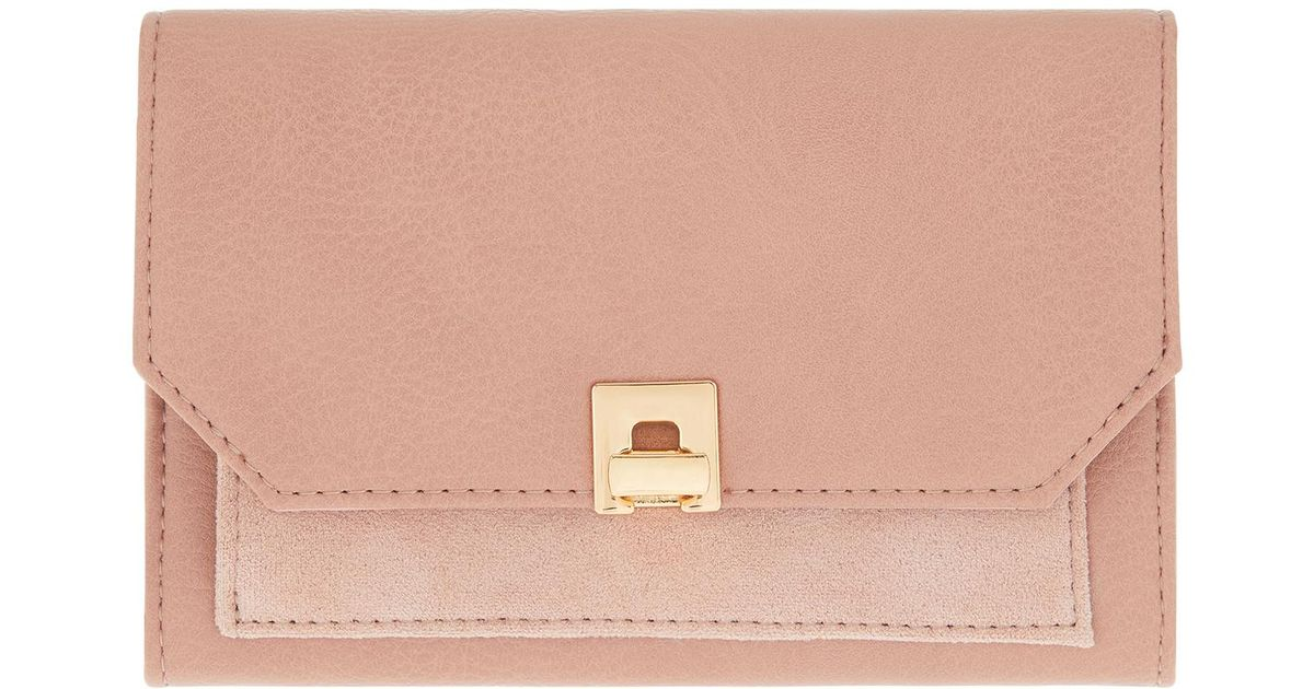 687ab15e0 Accessorize Ferne Faux Suede Contrast Wallet in Pink - Lyst
