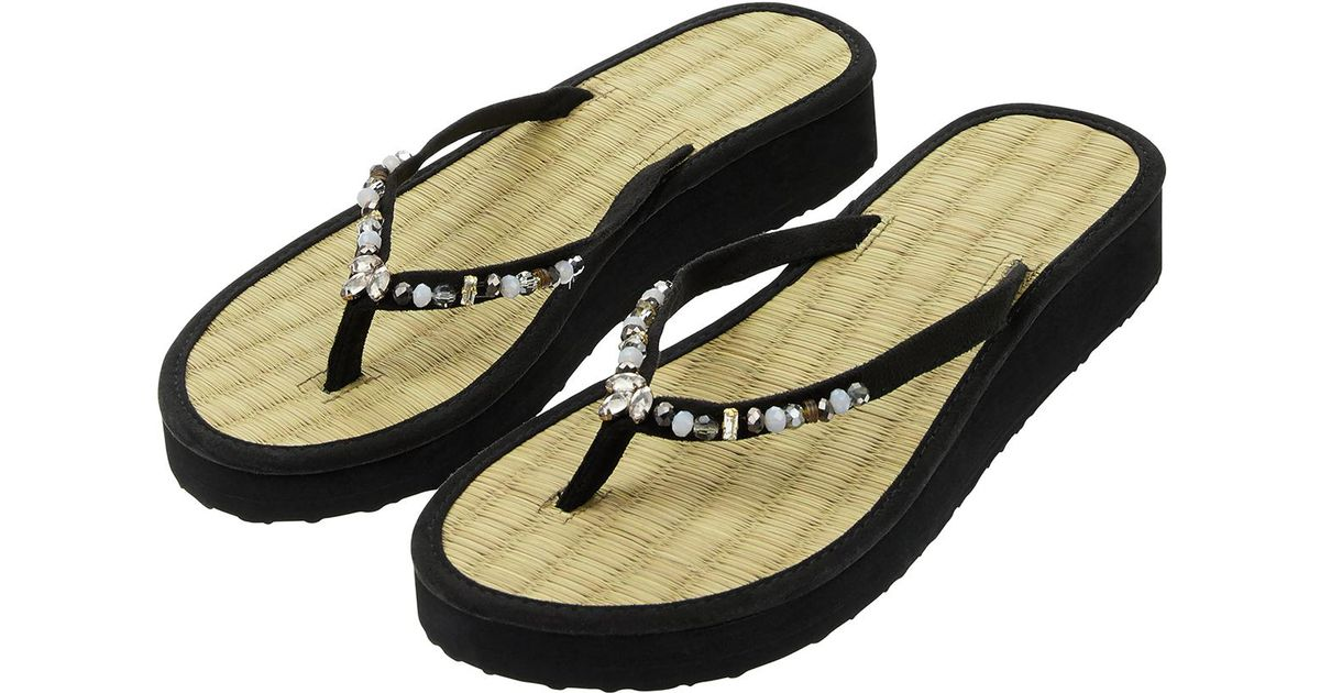 c15be81b958f41 Accessorize Wendy Wedge Seagrass Flip Flops in Black - Lyst
