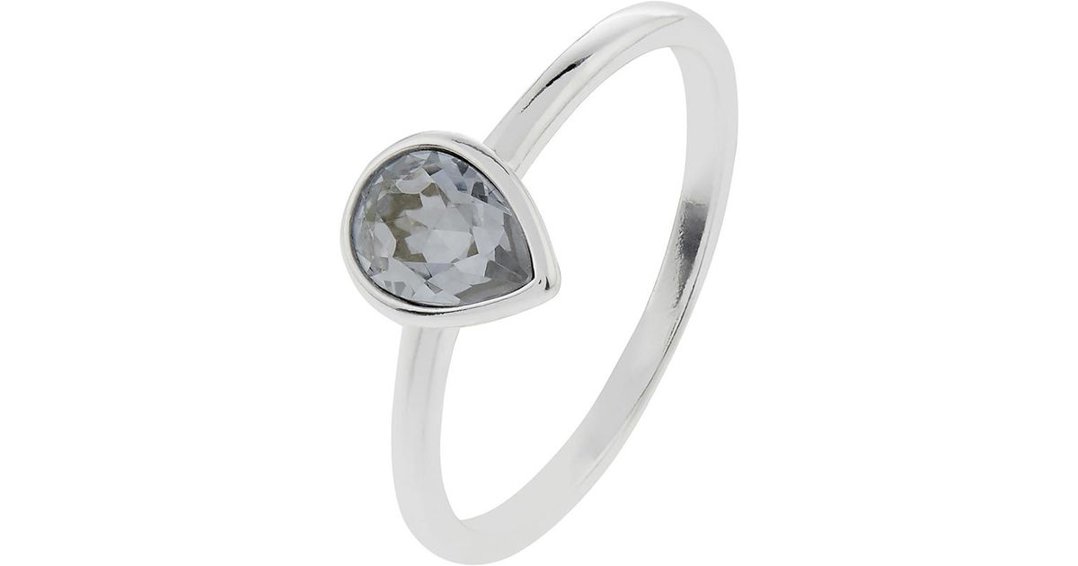 4bba9a4d82e17 Accessorize Blue Sterling Silver Teardrop Ring With Swarovski® Crystal
