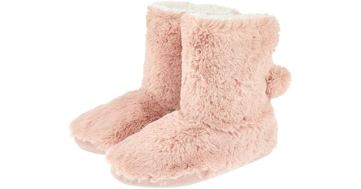Accessorize Furry Slipper Boots in Pink