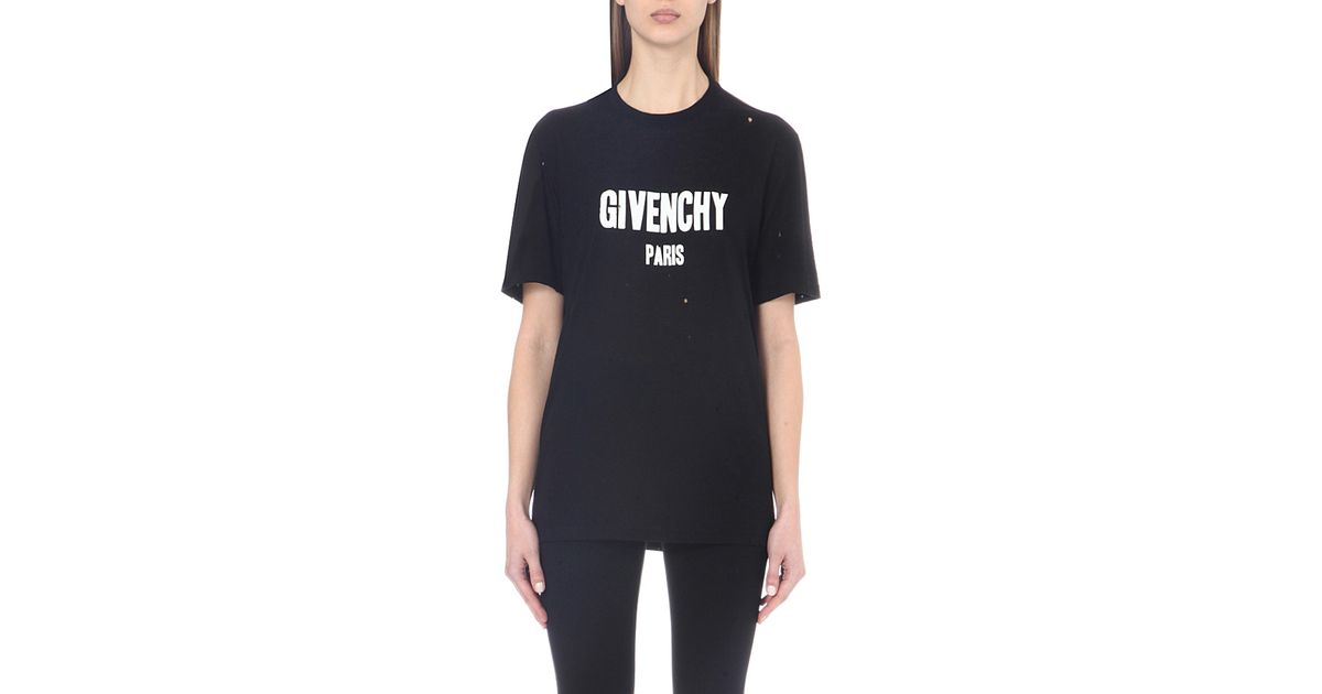 Givenchy distressed cotton jersey t shirt in blue lyst for Givenchy t shirts for sale