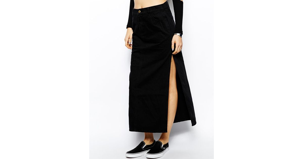Cheap monday Denim Maxi Skirt in Black | Lyst