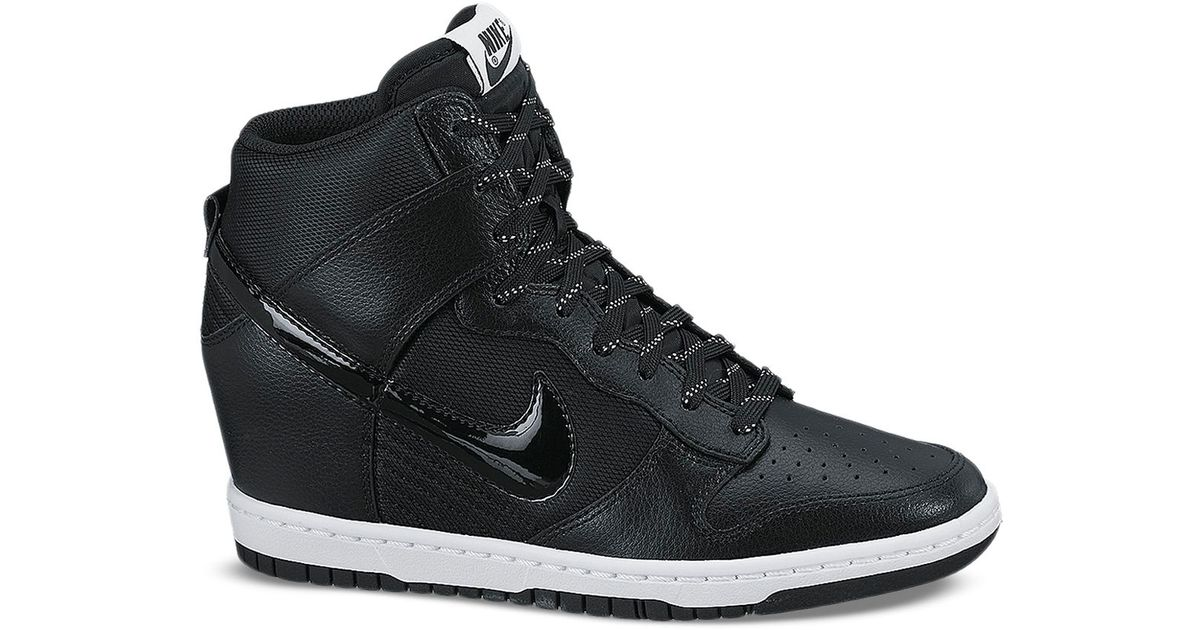 50367e04fe23 Lyst - Nike Lace Up High Top Wedge Sneakers - Women S Dunk Sky Hi Embossed  in Black