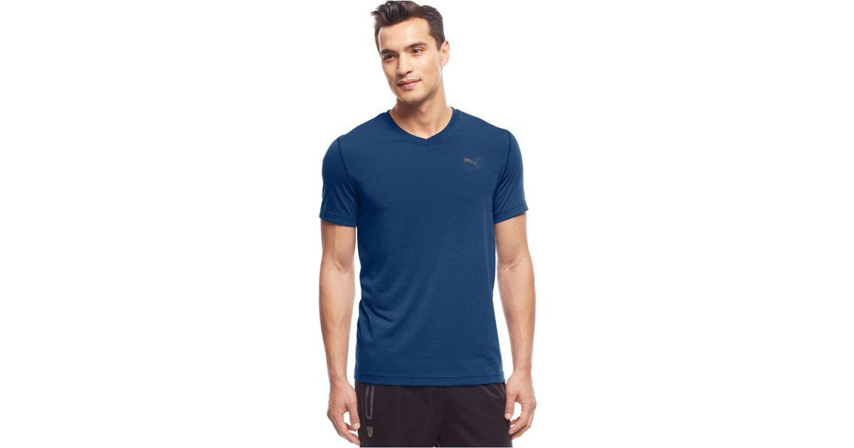 Puma Men 39 S Essential V Neck T Shirt In Blue For Men Lyst