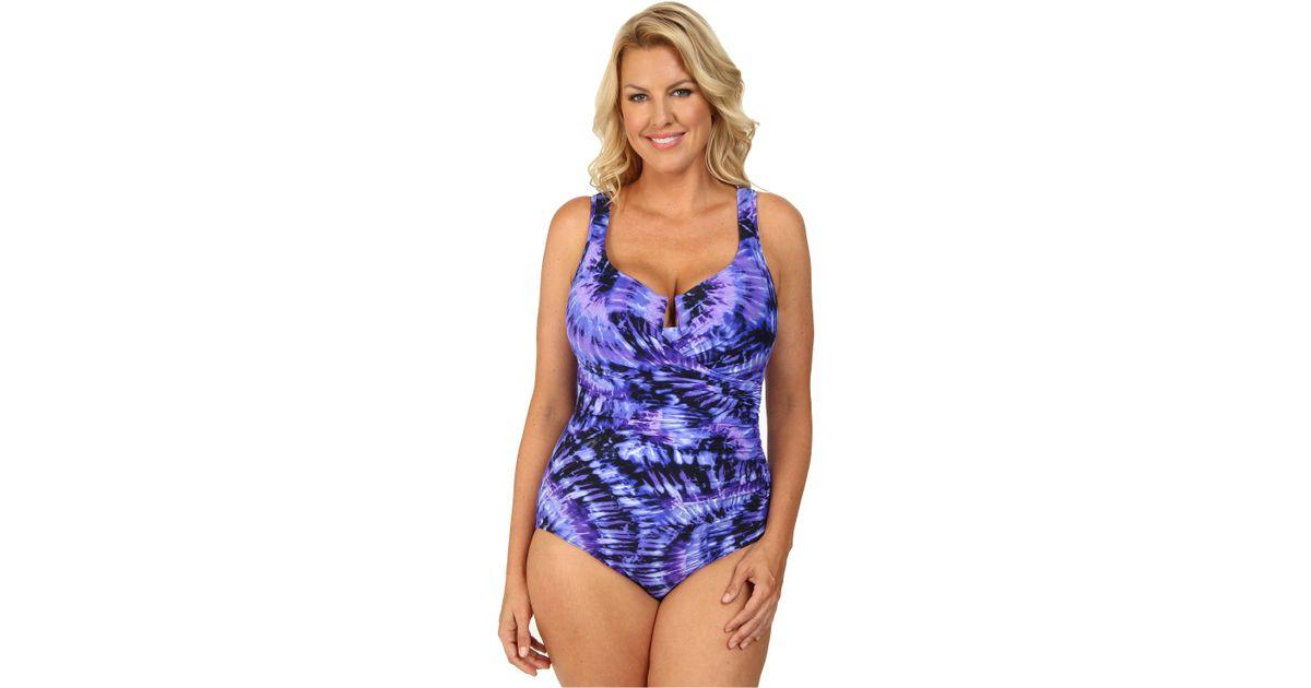 f98a974a072 Miraclesuit Plus Size Fandance Escape Swimsuit in Purple - Lyst