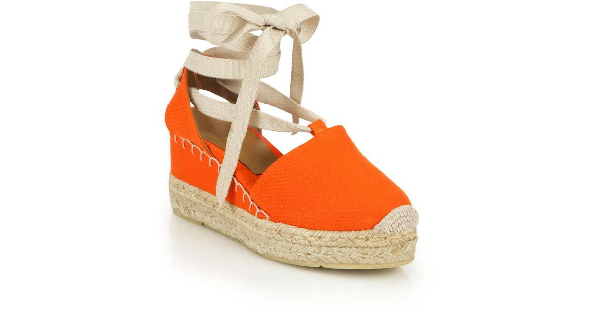 ralph uma canvas espadrille wedge sandals in orange