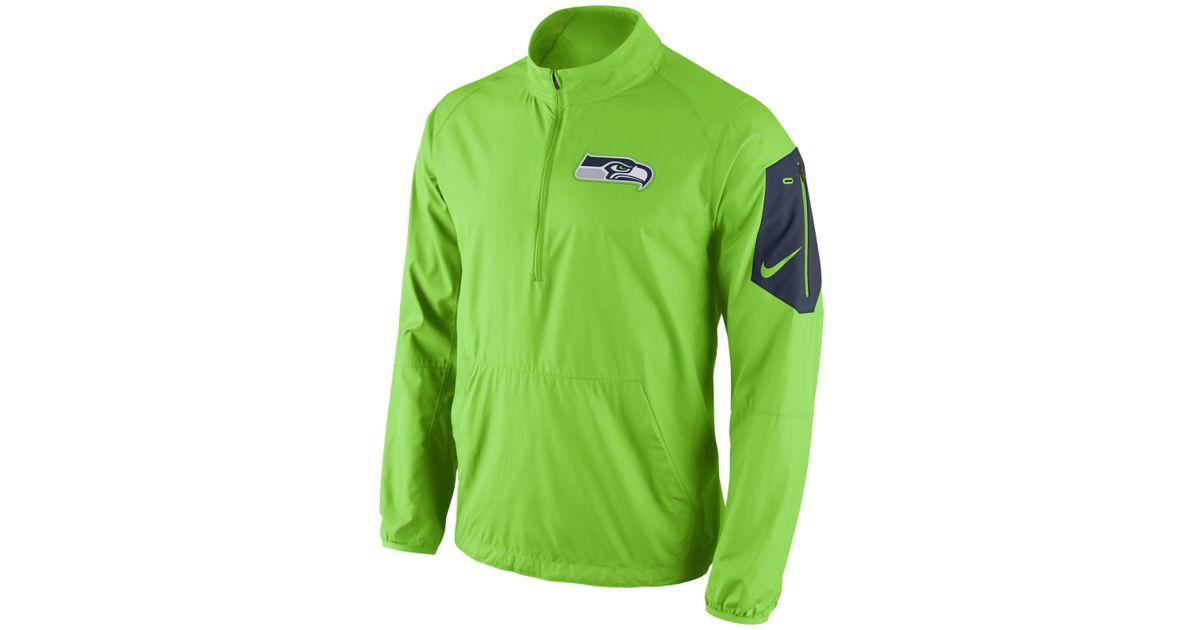 the latest 704e8 483ed Nike Green Men's Seattle Seahawks Lockdown Half-zip Jacket for men