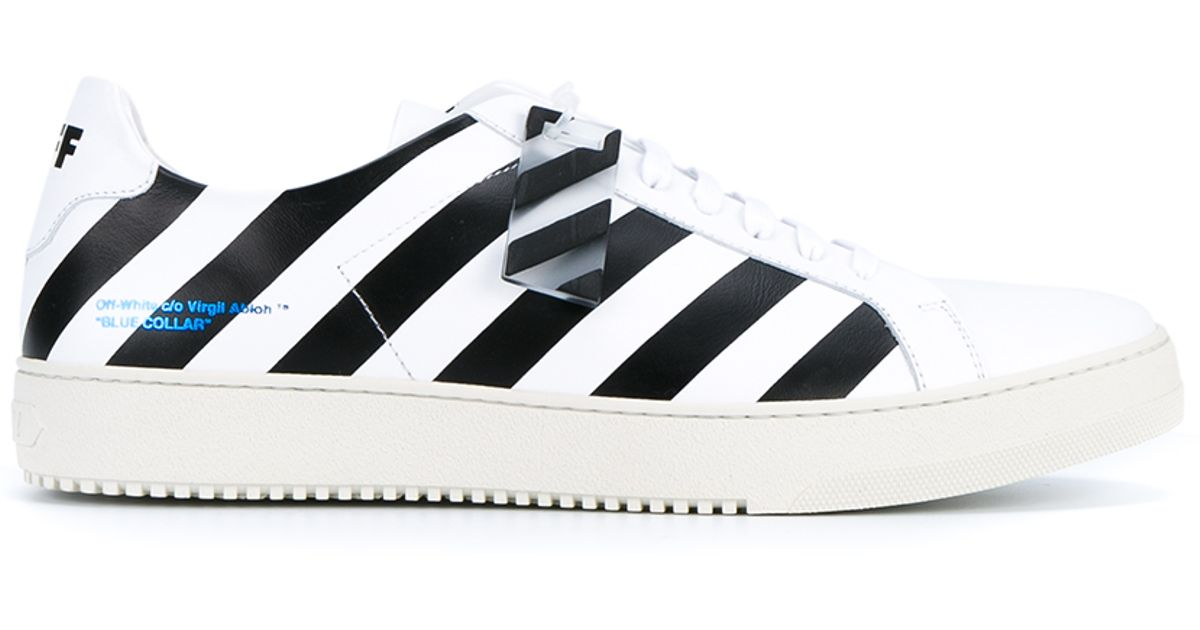 o Virgil Abloh Striped Leather Sneakers