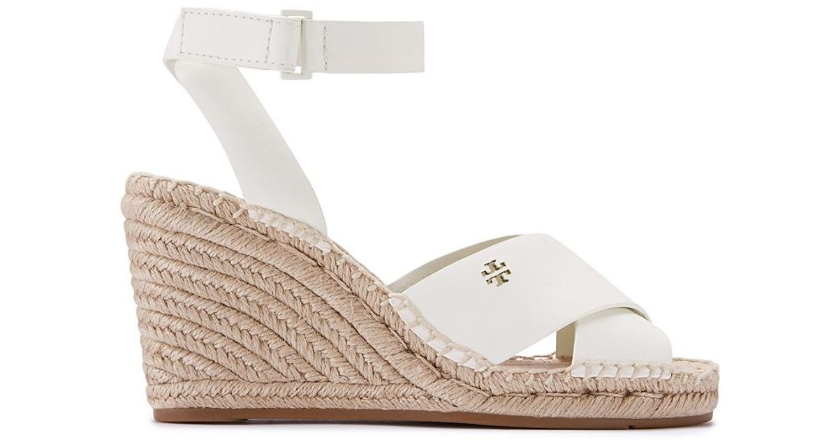 4d6ab1d935d Lyst - Tory Burch Bima Wedge Ivory Leather Espadrille in Brown