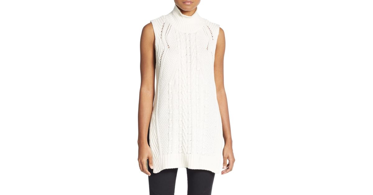 1.state Cable Turtleneck Tunic Sweater in White | Lyst