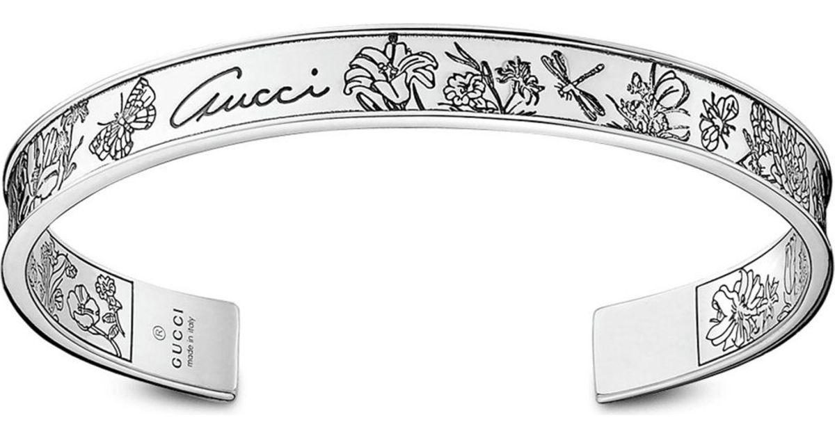 3ddf195eb820c Gucci Metallic Flora Sterling Silver Bangle
