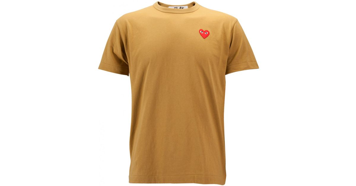 Comme Des Gar Ons Play Mens Red Heart T Shirt Olive In