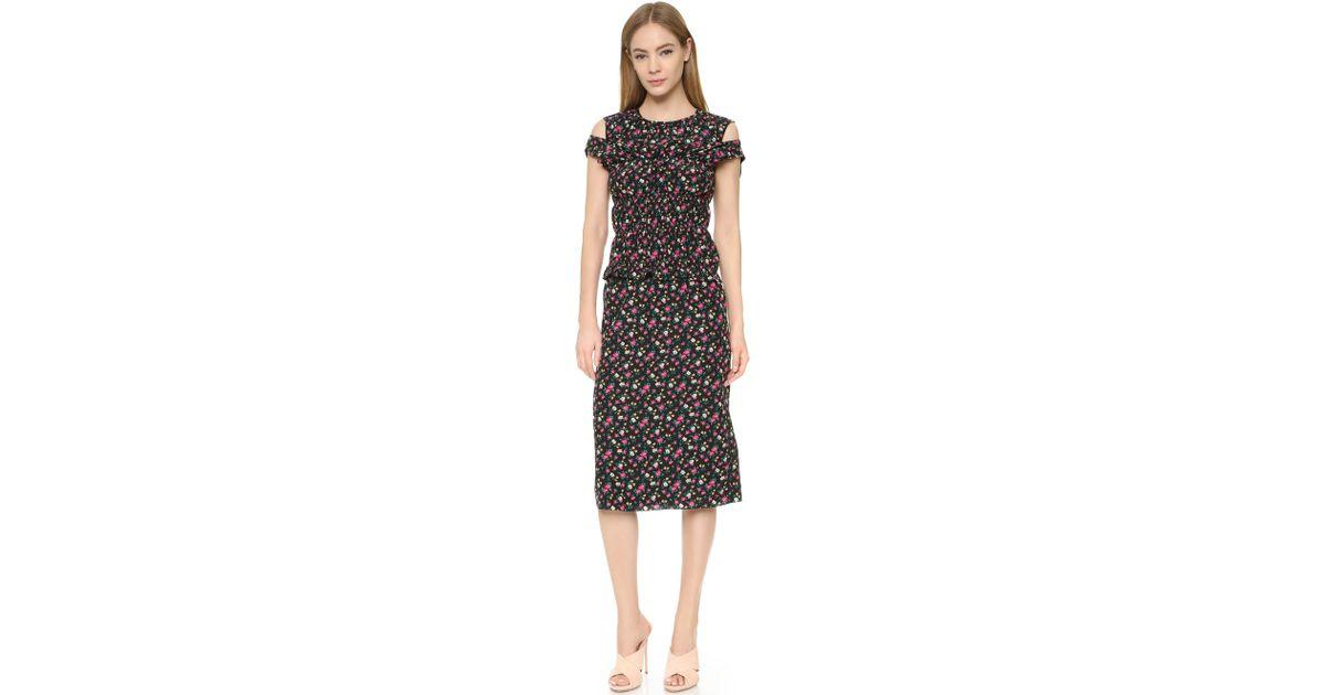Lyst - Nina Ricci Floral-print Chiffon Dress in Black ed1cdc930