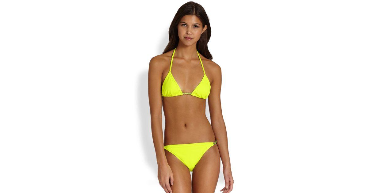 931101681b MILLY Laguna Triangle Bikini Top in Yellow - Lyst